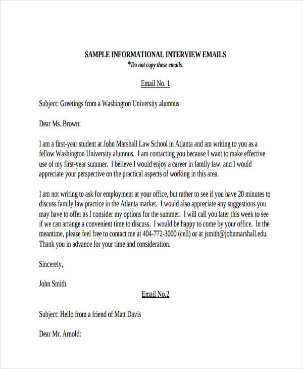 Superior Informational Interview Email  Greeting Email Sample