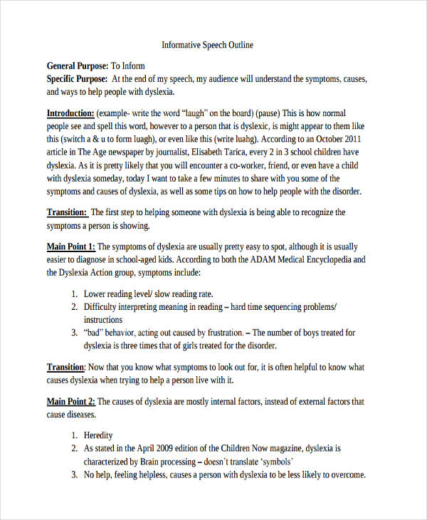 example of a informative speech outline Sample student informative speech outline - speech lab, speech and communication studies - ohlone college author: rahat rahman created date.