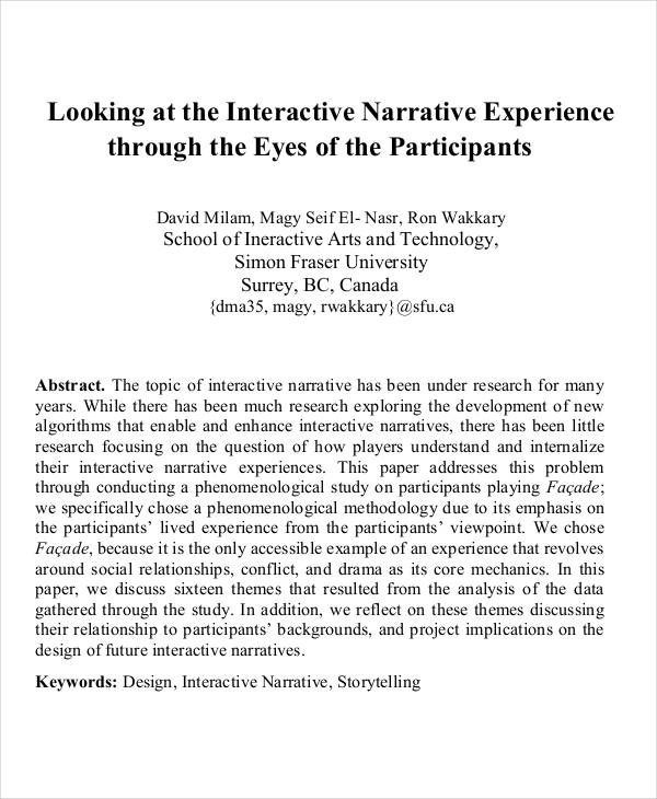 Narrative essays sample