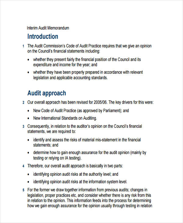 7  audit memo examples  samples