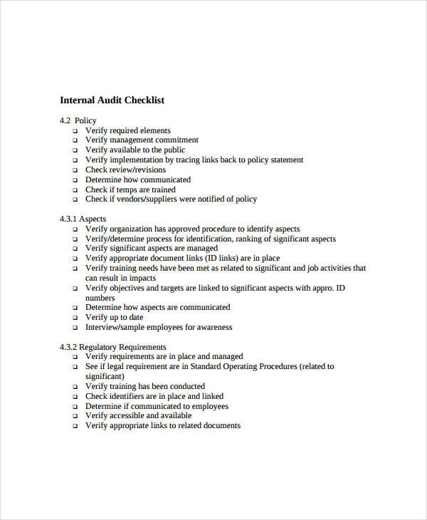 internal audit checklist