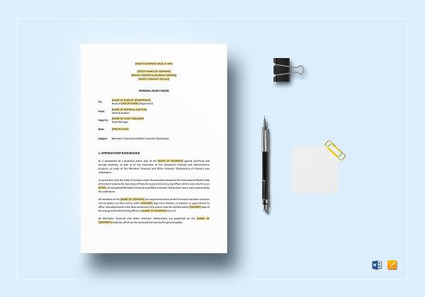 internal audit memo template to edit