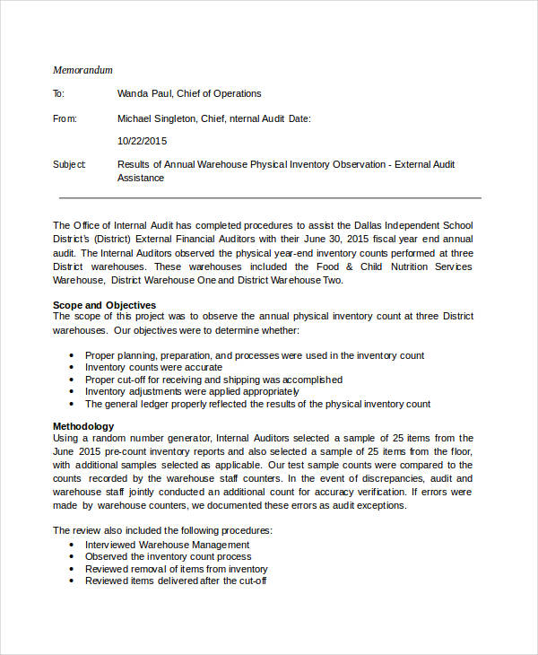 Audit Memos Pdf Document Download For Audit Announcement Memo