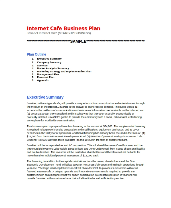 internet cafe business example