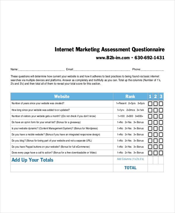 7  marketing questionnaire examples  samples