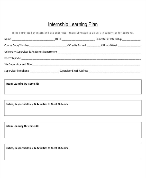 internship learning plan