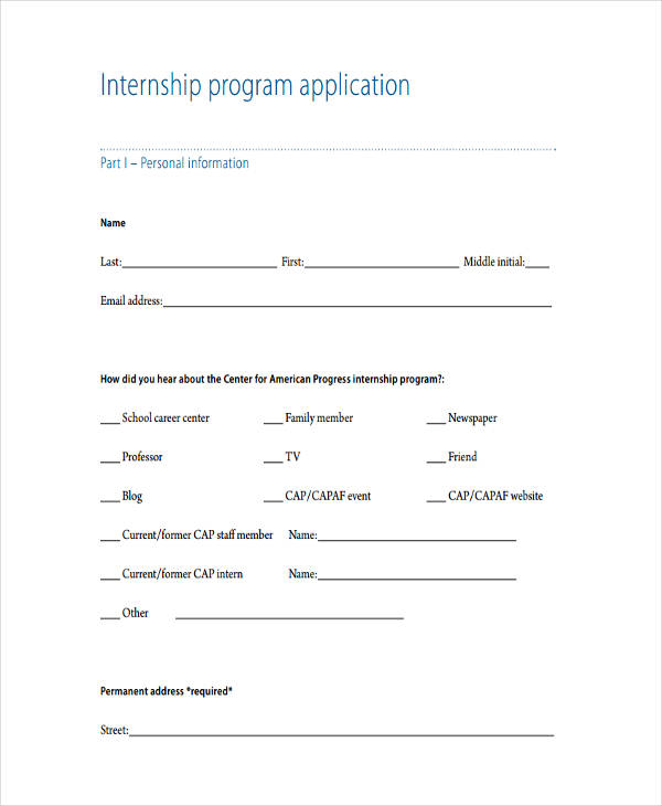 internship program example