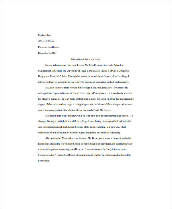 introduction essay for interview - Essay Example Introduction
