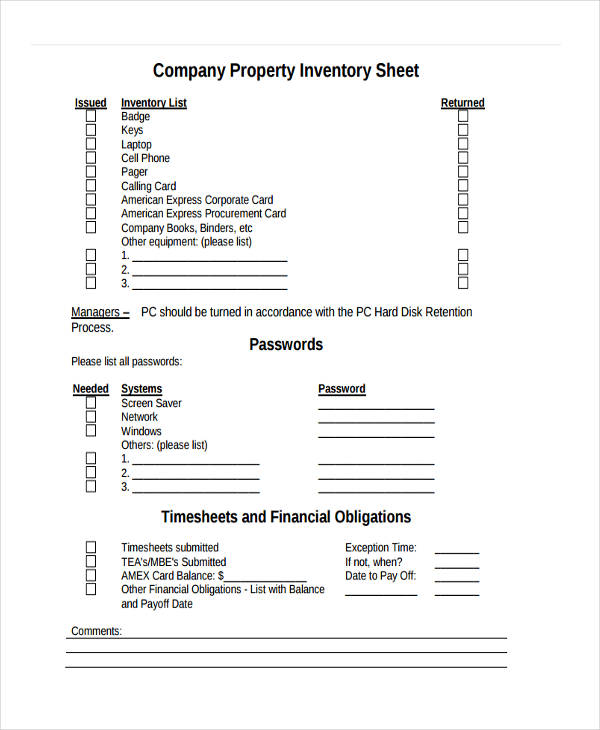 inventory for company property