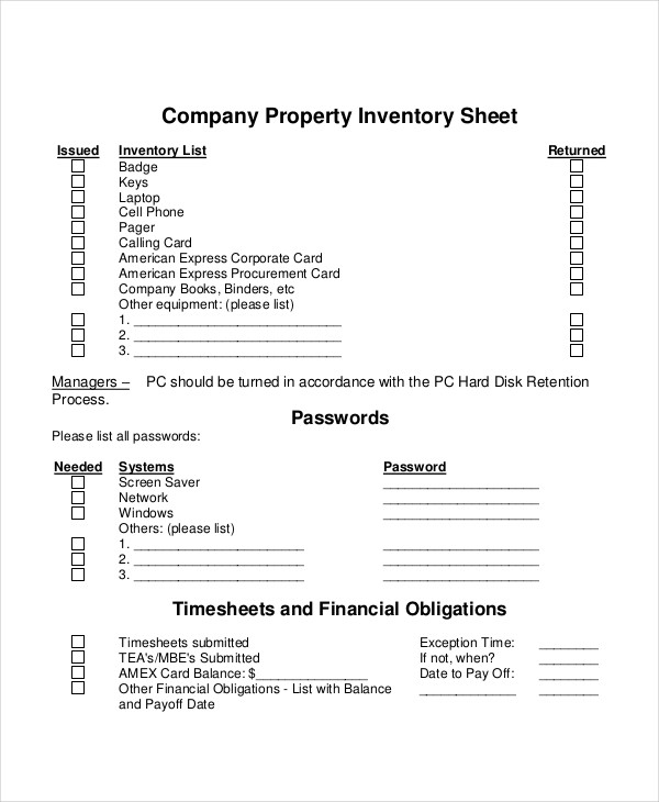 inventory for company property1
