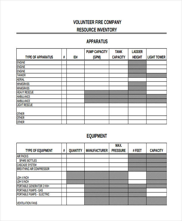 inventory for company resource
