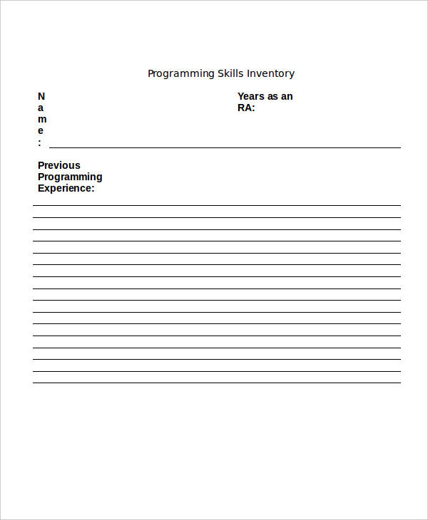 inventory for programming skills