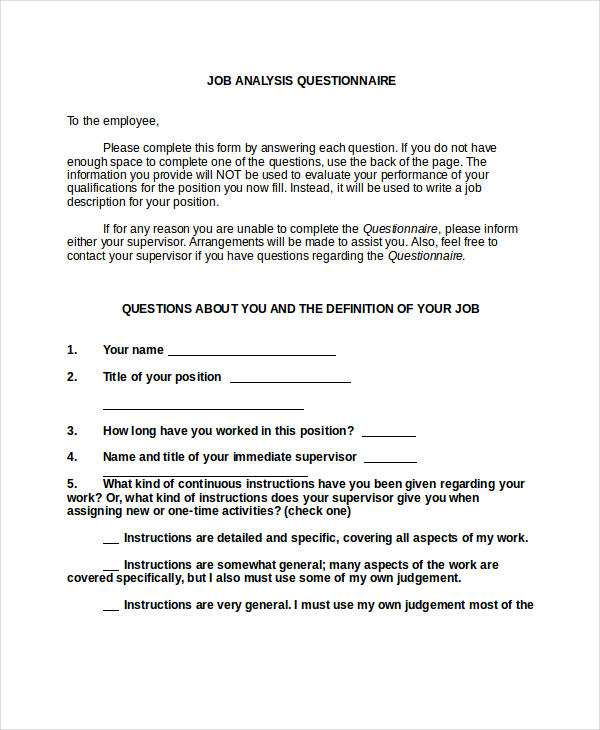 job analysis questionnaire