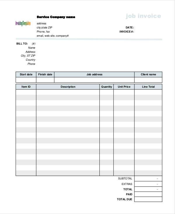job invoice