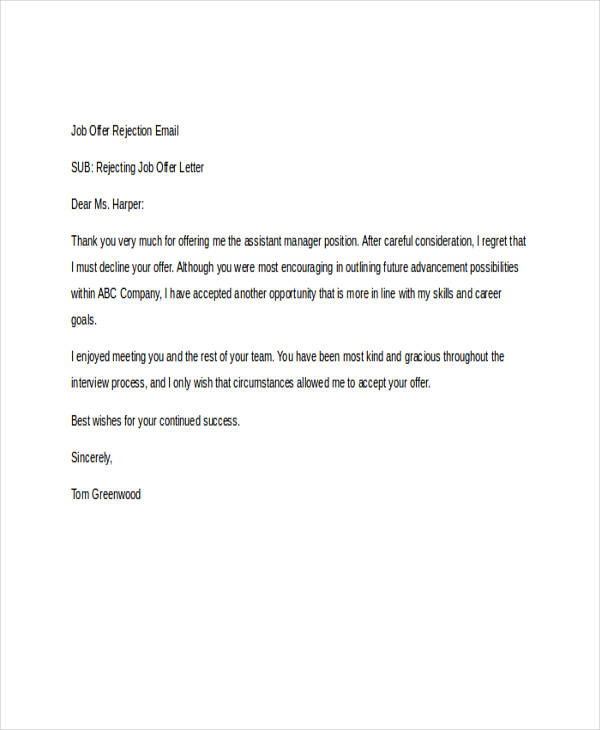 8 rejection email examples samples job offer rejection expocarfo