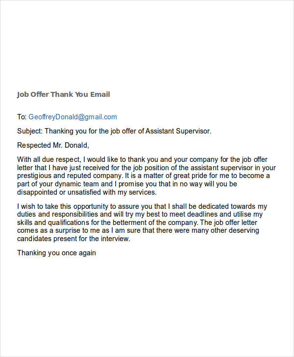 Thank You Email Job Offer  Template