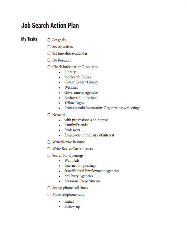7 job plan examples samples for Job search action plan template