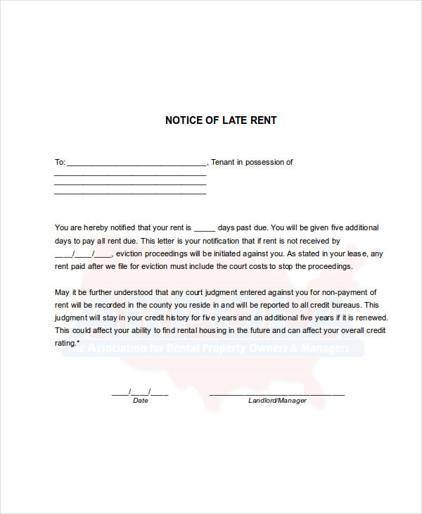 Late Rent Notice Examples  Samples