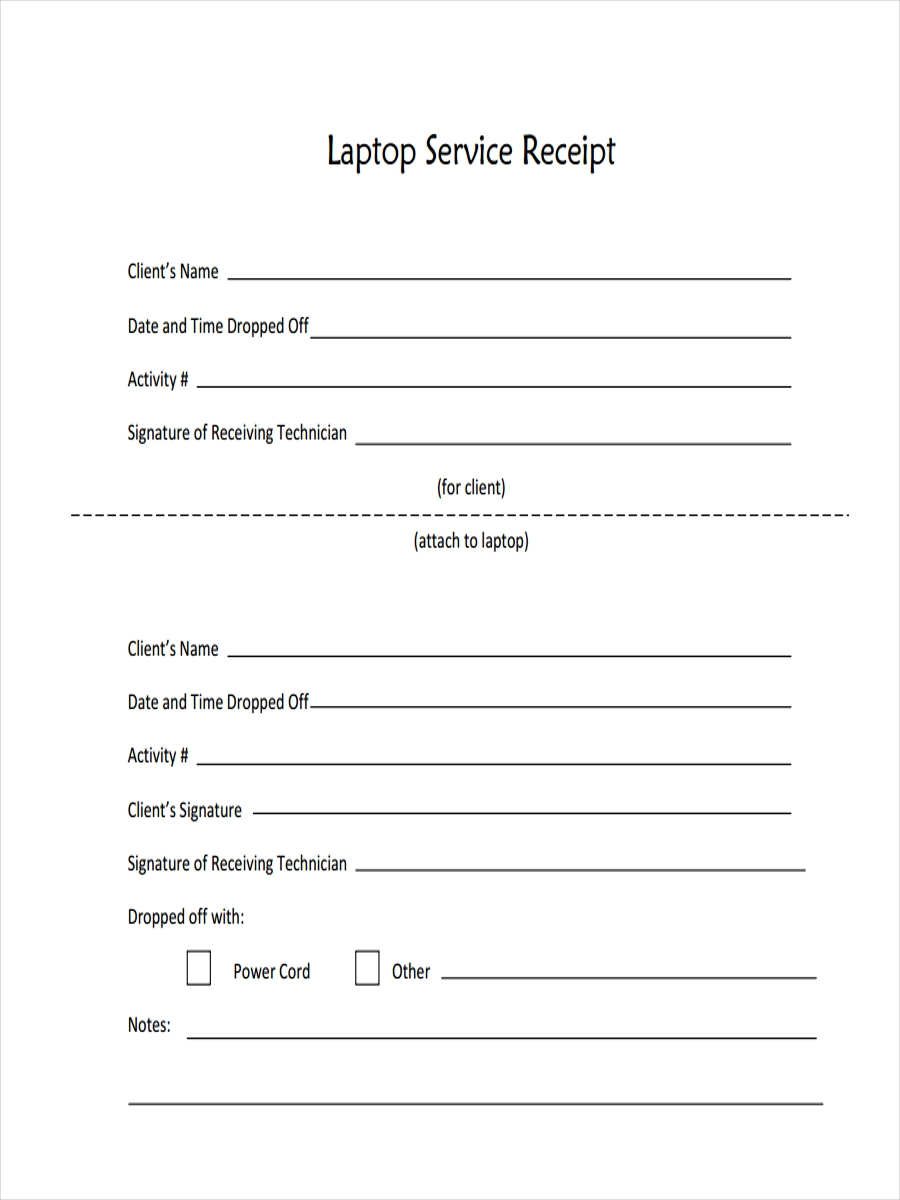 Laptop Service Receipt Sample Awesome Ideas