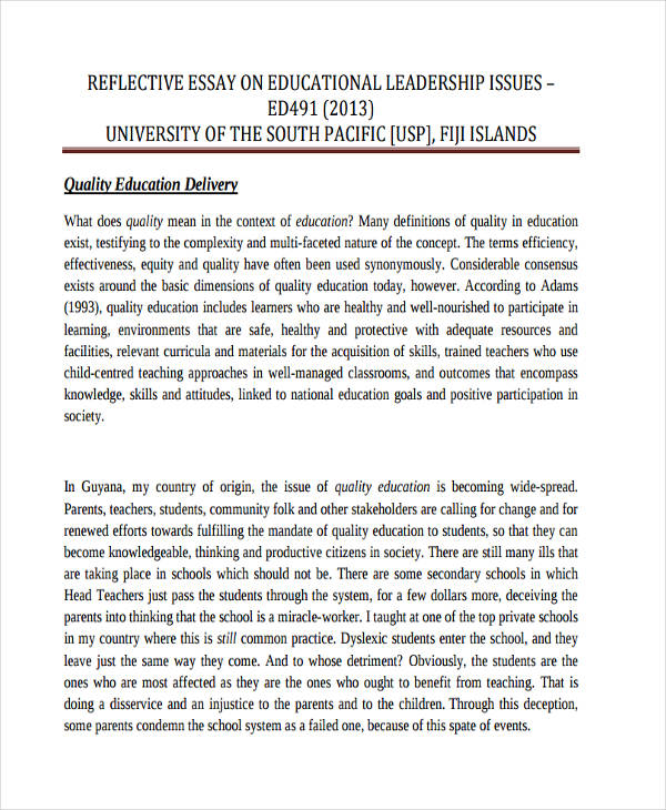 Reflective Essay Examples  Samples  Pdf  Examples Leadership Reflective Example