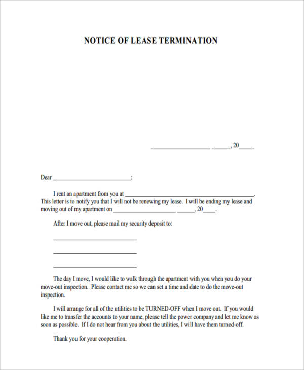 lease termination example - Notice Of Lease Termination