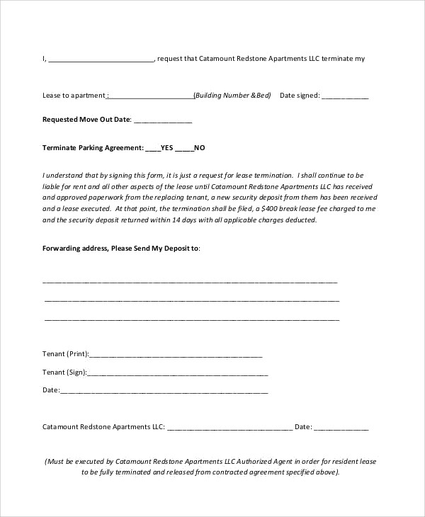 lease termination request letter
