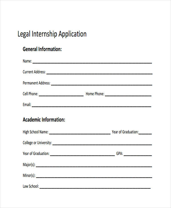 legal internship sample