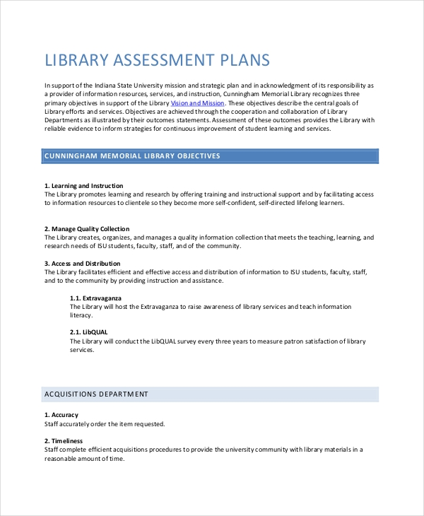 library assessment plan