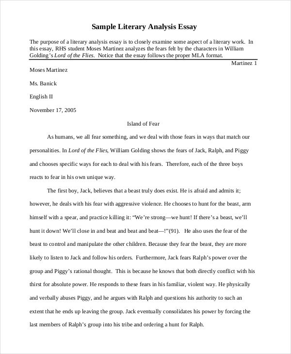 5 literary analysis examples sampels - Example Of Literature Essay