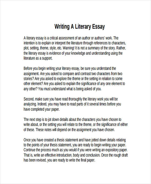 Writing an Introduction Literary Analysis Essays    Robert
