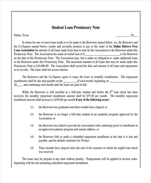 Loan Promissory Note1  Examples Of Promissory Note