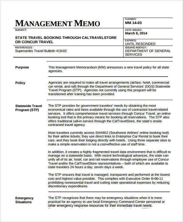 management memo for business
