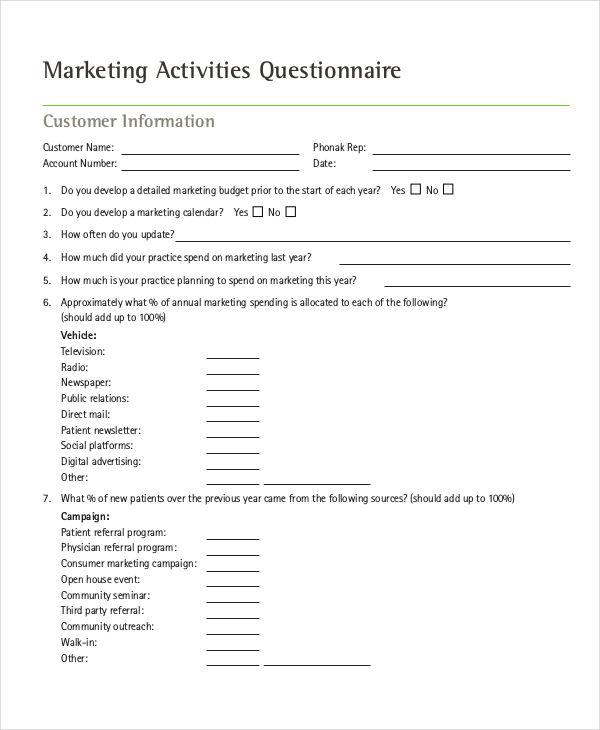 Marketing Questionnaire Sample Market Research Survey Sample