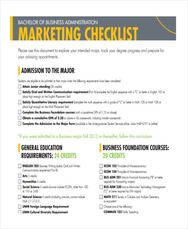 marketing checklist sample