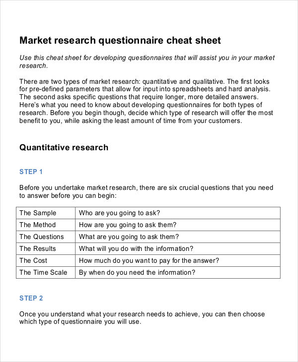 Marketing Research Questionnaire Examples Samples