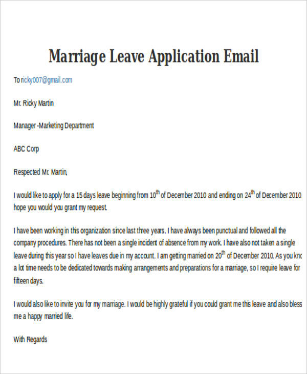 Leave Application Email Examples Samples
