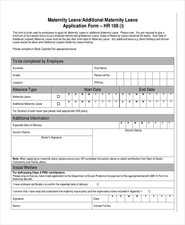 maternity leave form sample 7  Leave Application Examples, Samples