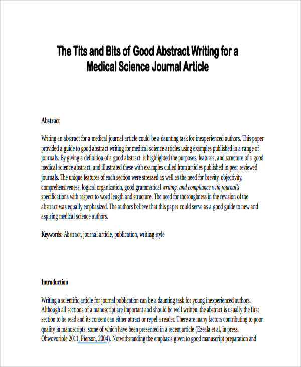 abstract writing examples Here are two examples of the same abstract, sample one is an example of a badly written abstract, while sample two is an example of a well-written abstract.