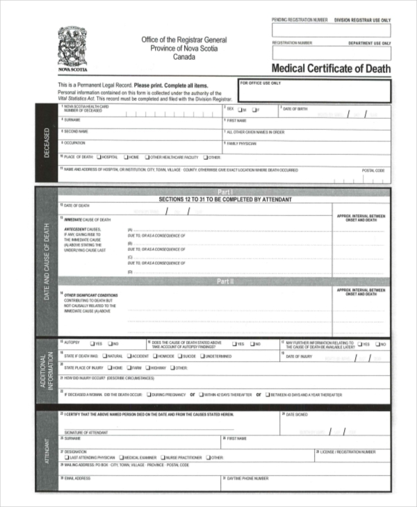 medical certificate of death