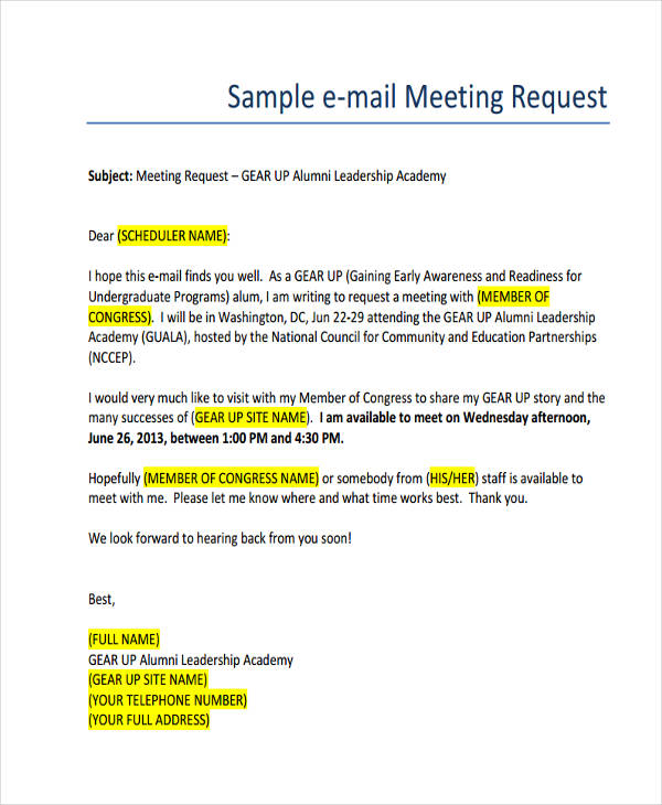 Email requesting meeting for Email template to schedule a meeting