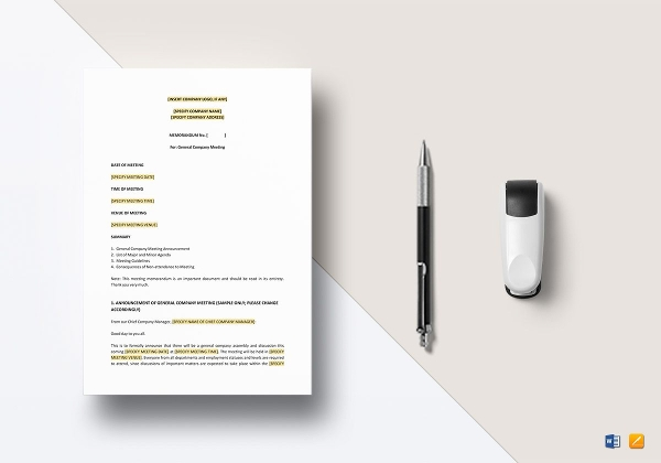 memo for meeting announcement template in apple pages