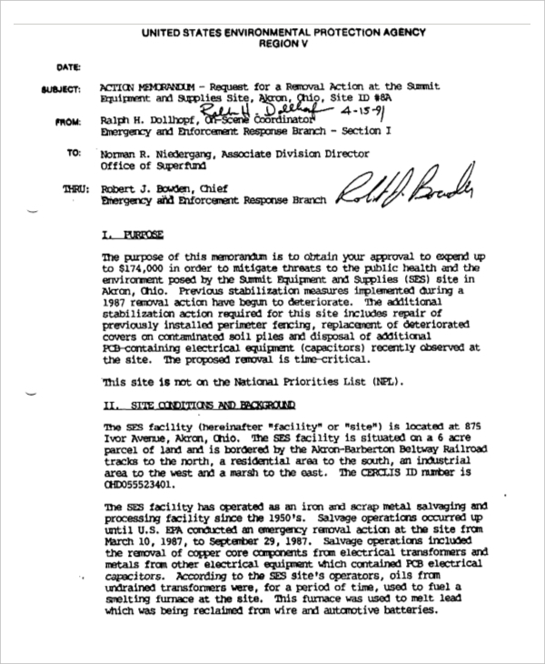 memo for removal action1