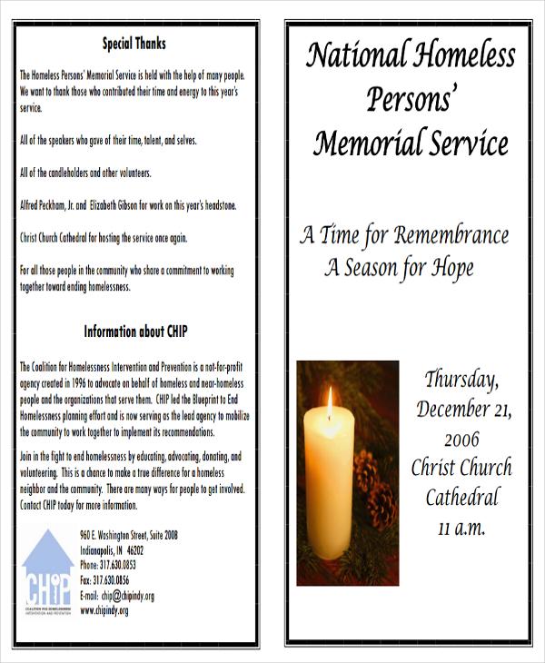 Memorial Program Examples  Samples