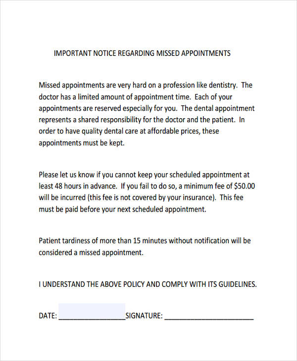 missed appointment notice
