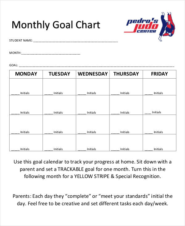 monthly goal sample