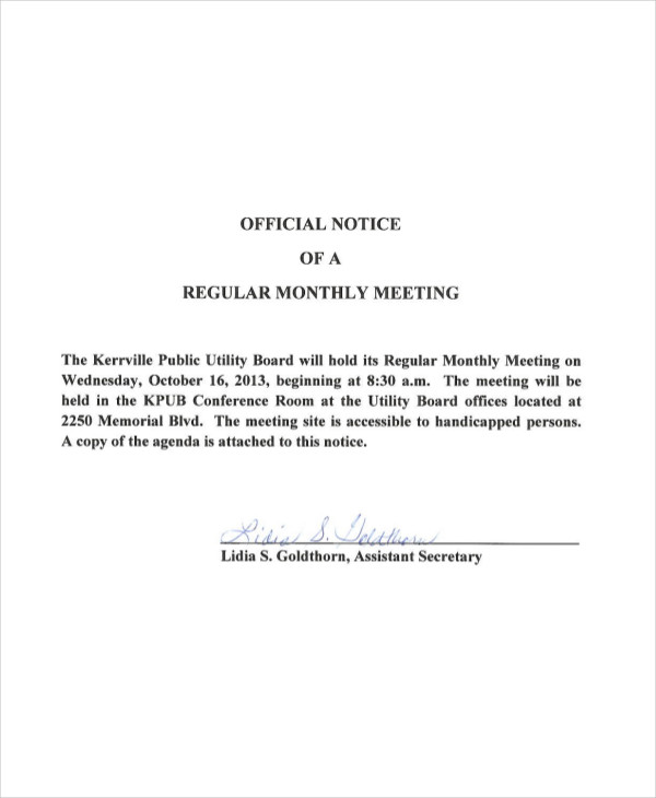 monthly meeting notice