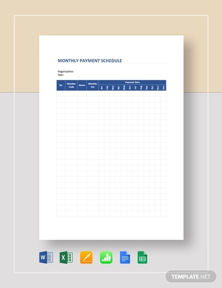 monthly payment schedule template