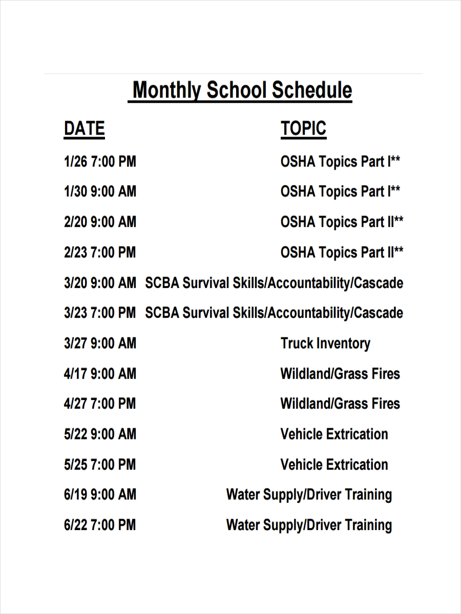 monthly school schedule