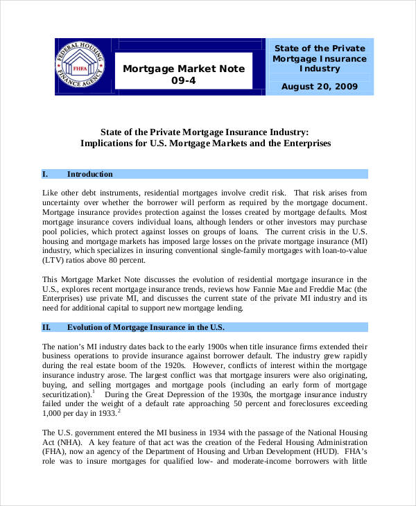 mortgage market note
