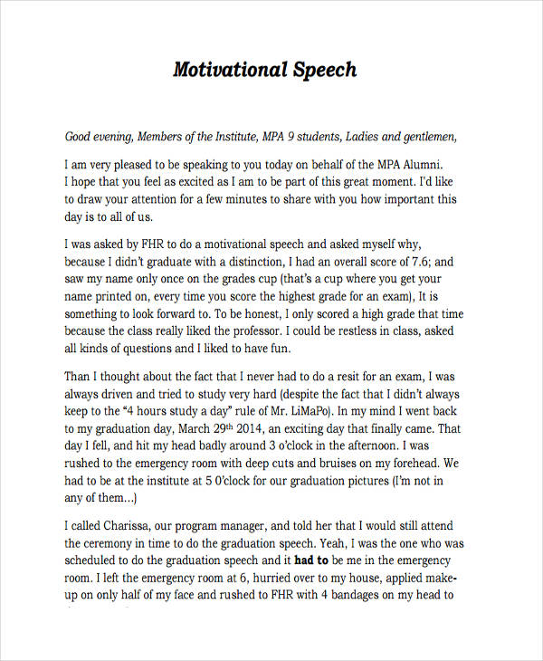 7 Motivational Speech Examples Samples – Graduation Speech Example Template